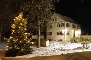 Beichtigerhaus mit Christbaum bei Nacht und mit Schnee Dez 2017